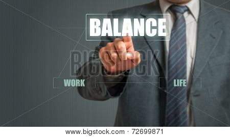 Business Man Touching An Imaginary Screen And Choosing Balance