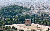 foto of olympian  - Famous Temple of Olympian Zeus and Athens cityscape from the Acropolis Hill in Greece - JPG