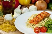 Seared Chili Salmon Fillet With Pesto Spaghetti & Rocket Salad poster