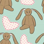 foto of backround  - Hand drawing bunnies with pink heart on green backround - JPG