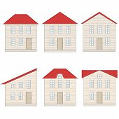 image of foundation  - Six houses with red roof windows door and foundation - JPG