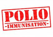 picture of polio  - POLIO IMMUNISATION red Rubber Stamp over a white background - JPG