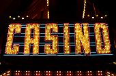 stock photo of las vegas casino  - An old fashioned casino sign in the downtown area of Las Vegas Nevada - JPG