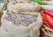 picture of sag  - close up shot of rice in sag bag image  - JPG