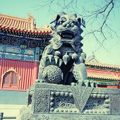 image of lamas  - Ancient bronze lion and red chinese paviliones in famous Lama Temple  - JPG