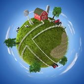 stock photo of farm landscape  - 3D concept with farm on the ball - JPG