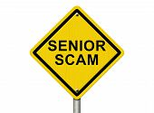 foto of hustle  - Senior Scam Warning Sign An road warning sign with words Senior Scam isolated on white - JPG