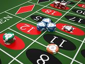 image of roulette table  - Roulette table in a casino - JPG