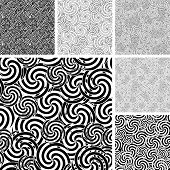 stock photo of uncolored  - Collection of seamless abstract uncolored wave textures - JPG