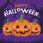 picture of happy halloween  - Happy Halloween pumpkins with background vector illustration - JPG