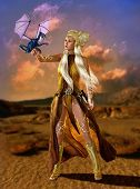 foto of woman dragon  - lady with fantasy hairstyle and fantasy clothes with a dragon cub on the arm - JPG