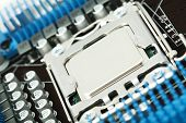 picture of processor socket  - Close view at closed processor socket on computer motherboard - JPG