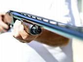 foto of shotgun  - Weapon shotgun hunting pretty strong metal for real men - JPG