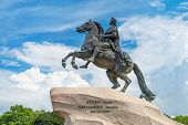 picture of great horse  - Monument of Russian emperor Peter the Great known as The Bronze Horseman Saint Petersburg Russia - JPG