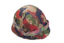 pic of stelles  - swiss army stell helmet with camouflaged cover isolated on white - JPG