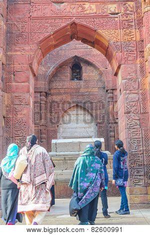 Tourists entering into the qutub minar complex