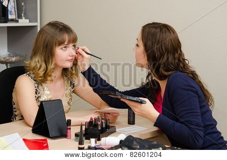 Makeup Artist Apply Makeup To Eyelashes Office Employee