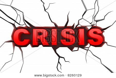 Crisis concept on white craked surface