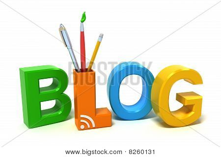 Word Blog with colourful letters. 3D concept