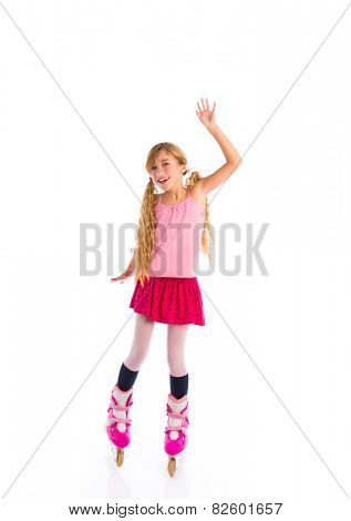 blond pigtails roller skate girl full length on white background