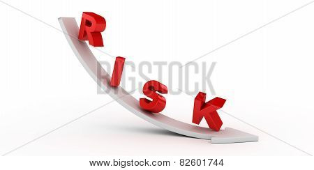 Risk text on white arrow