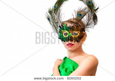 Portrait Girl In Green Mask