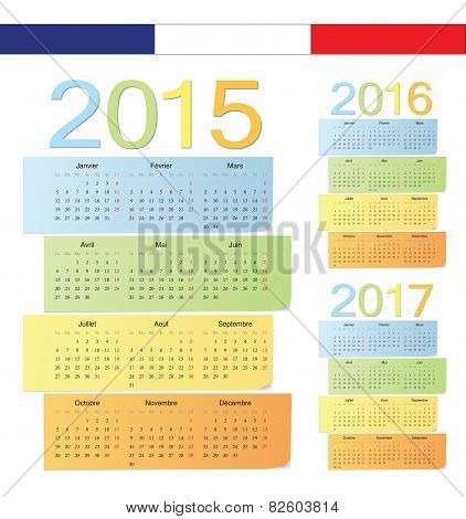 Set Of French 2015, 2016, 2017 Color Vector Calendars