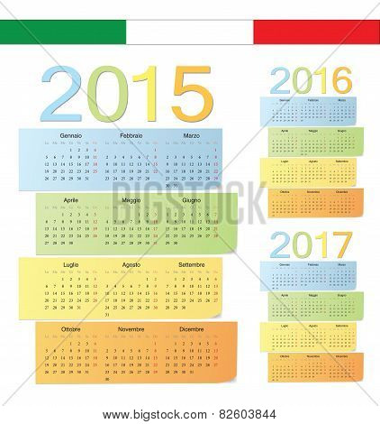 Set Of Italian 2015, 2016, 2017 Color Vector Calendars
