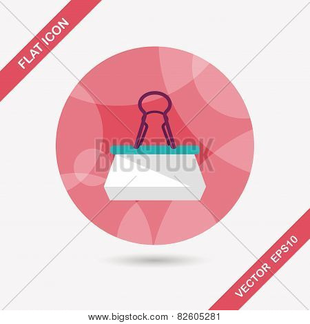 Black Paper Clip Flat Icon With Long Shadow,eps10