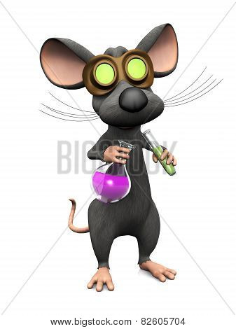 Mad Cartoon Mouse Doing A Science Experiment, Image Two.