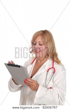 A nurse or doctor uses a computer tablet to take notes, write prescriptions, check patients charts, write and read emails, play solitaire, and chat with friends on line around the world. on white