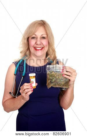 A nurse or doctor or Medical Marijuana Doctor mature woman enjoys the benefits of Medical Marijuana. isolated on white with room for your text