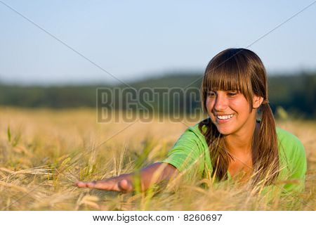 Happy Woman In Sunset Corn Field Enjoy Sun