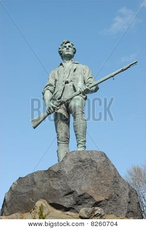 Minuteman Statue At Lexington Battle Green In Massachusetts