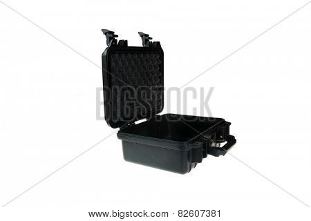 Hard Plastic Water Resistant Equipment Case. isolated on white with room for your text