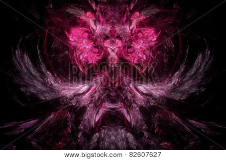 Abstract Colorful Structure Resembling Demons Head. Unusual Fractal Texture.