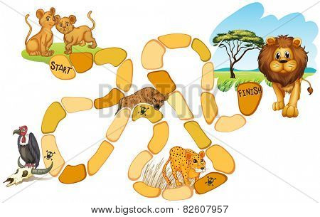 Illustration of a board game with animals