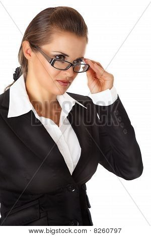 modern business woman straightening eyeglasses