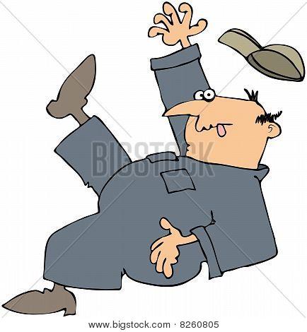 Slipping Worker
