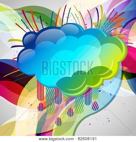 Abstract background with design elemnts. Cloud for your text, stars, speakers, raindrops.