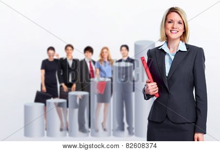 Group of business people team over office center background.
