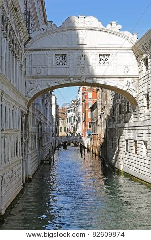 Famous Bridge Of Sighs In Venice In Italy