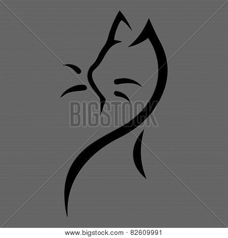Stylized cat icon on gray background