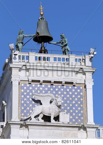 Venice Famous Clock Tower With Blackened Statues From The Elements Called Two Moors