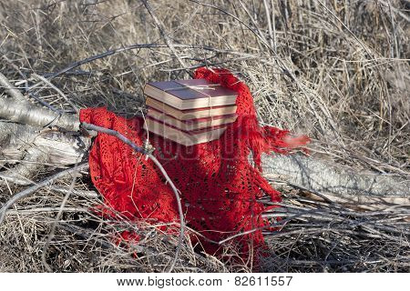 Books Tied With Coarse Thread Outdoors