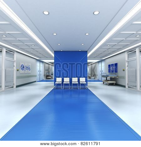 3D rendering of a hospital interior with lots of copy space