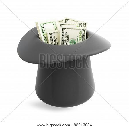 Dollar In Magic Hat Cylinder  On A White Background