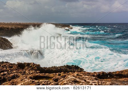 Waves Splashing On Rocks Bonaire