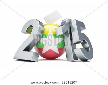 Constitutional Referendum In Myanmar 2015 3D Illustrations On A White Background