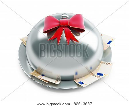Tray Euro Money Gift On A White Background